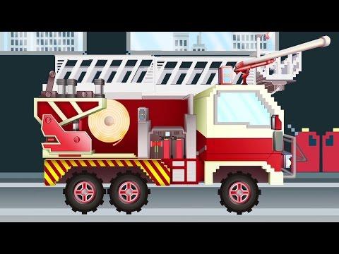 Camión de Bomberos - Pipo y su grúa | Dibujo animado como Minecraft