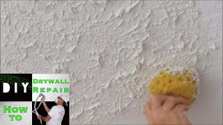 How to use a sponge to match knockdown texture on a ceiling repair ...