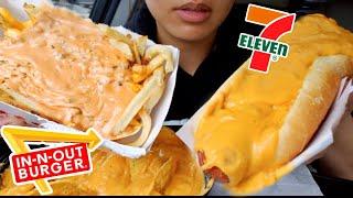 ASMR EATING SUPER CHEESY HOT DOG & ANIMAL STYLE FRIES CHEESE NACHOS CAR MUKBANG REAL SOUND TWILIGHT