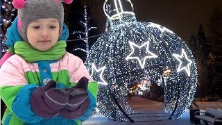 UT kids in a beautifully decorated Park and Christmas tree Jingle bells song for children