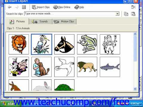 Word 2003 tutorial inserting clip art 2000 97 microsoft for Clipart words