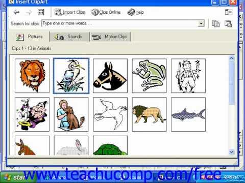 Word 2003 Tutorial Inserting Clip Art 2000  97 Microsoft Office - word clip art