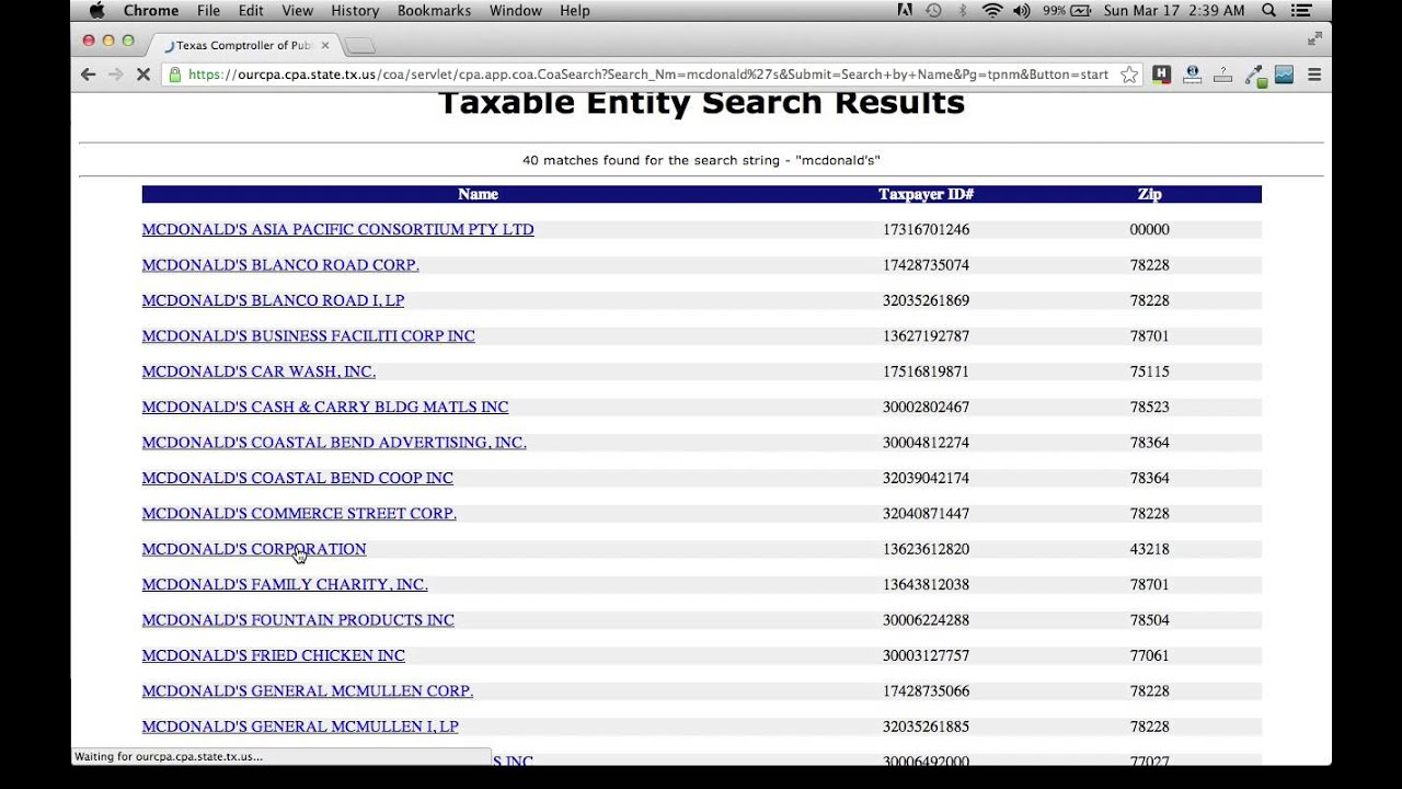 Search Texas businesses by name, type, employees, & revenue.