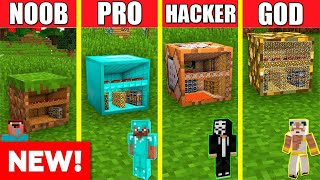 Minecraft Battle: INSIDE BLOCK HOUSE BUILD CHALLENGE - NOOB vs PRO vs HACKER vs GOD / Animation ONE