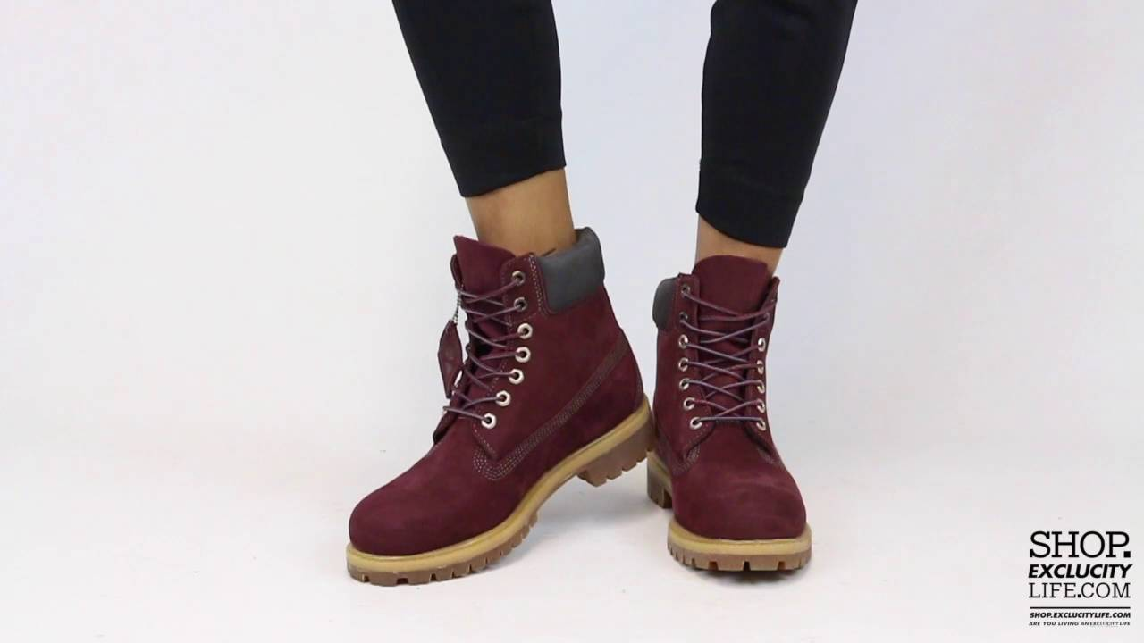 Women s Timberland 6 Inch Premium Dark Plum On feet Video at Exclucity 25ece93d4