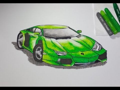 Cara Menggambar Dan Mewarnai Mobil Lamborghini Aventador Lp 700 4 Youtube