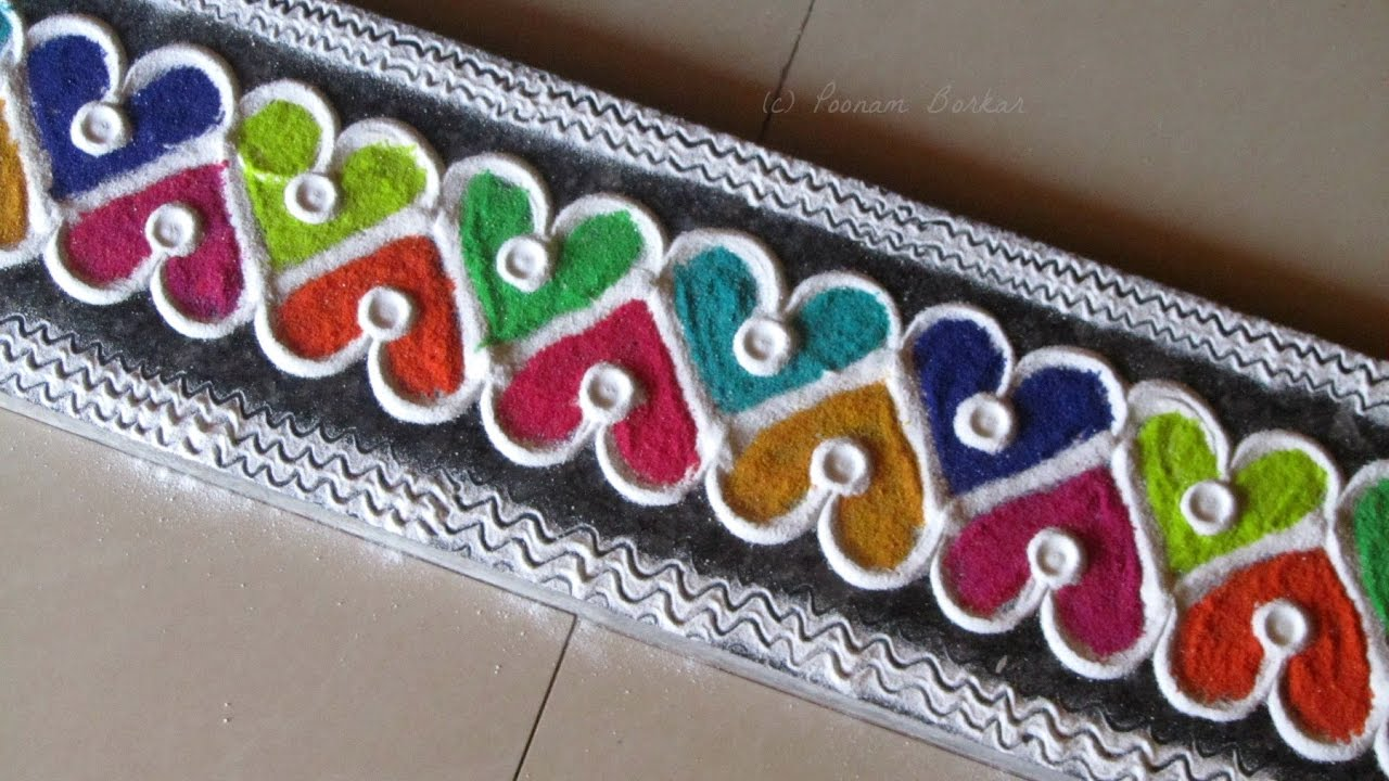 Easy and innovative multicolored border rangoli easy for Door rangoli design images new