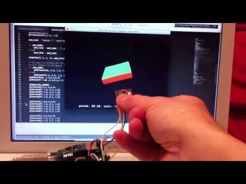 6 DOF IMU (3 axis accelerometer, 3 axis gyroscope), Arduino, OpenGL, Python, complementary filter
