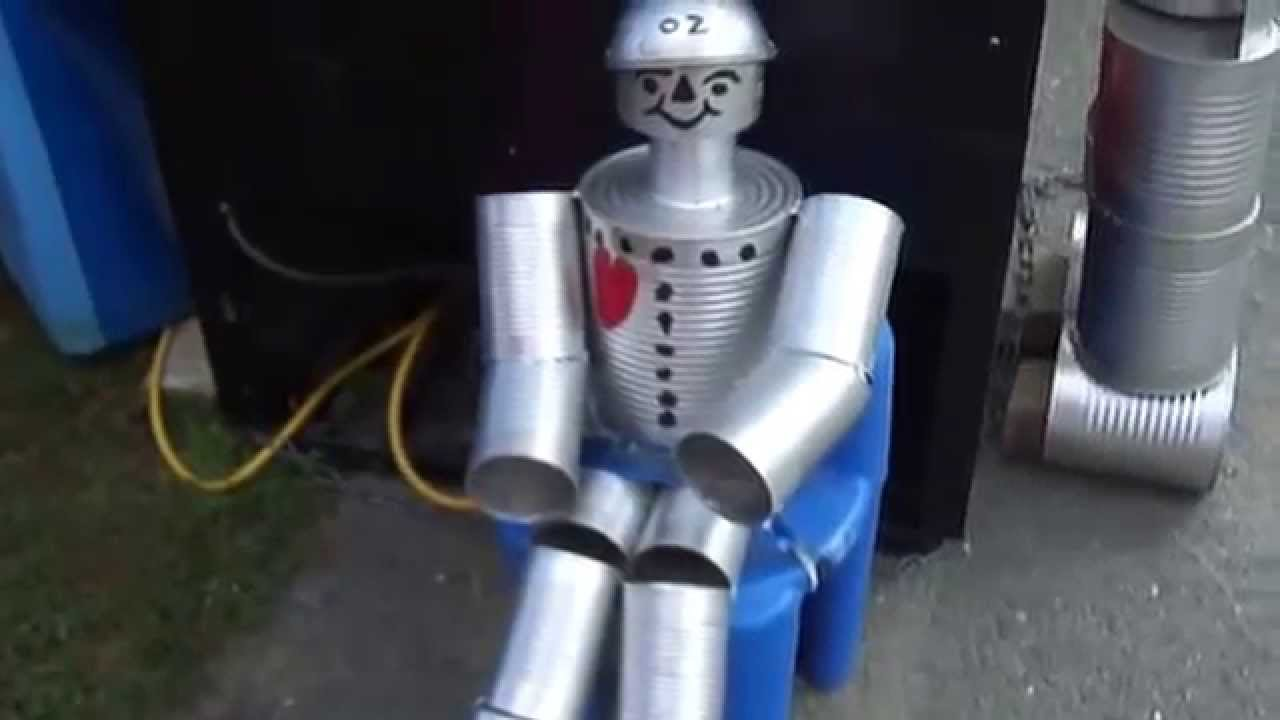 How to make a tin man youtube for Tin man out of cans