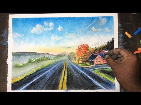 Beautiful Road Landscape Drawing with soft pastels | P V Hanumanthu art