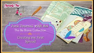 Junk Journal with Me: Be Brave Collection - Creating my First Spread / Cardboard Line Stamping