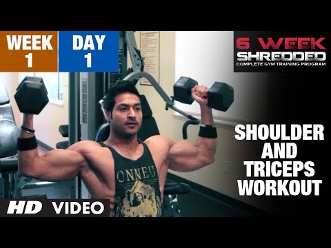 Week 1: Day 1 - Shoulder, Triceps and Upper Abs Workout | Guru Mann 6 Week Shredded Program