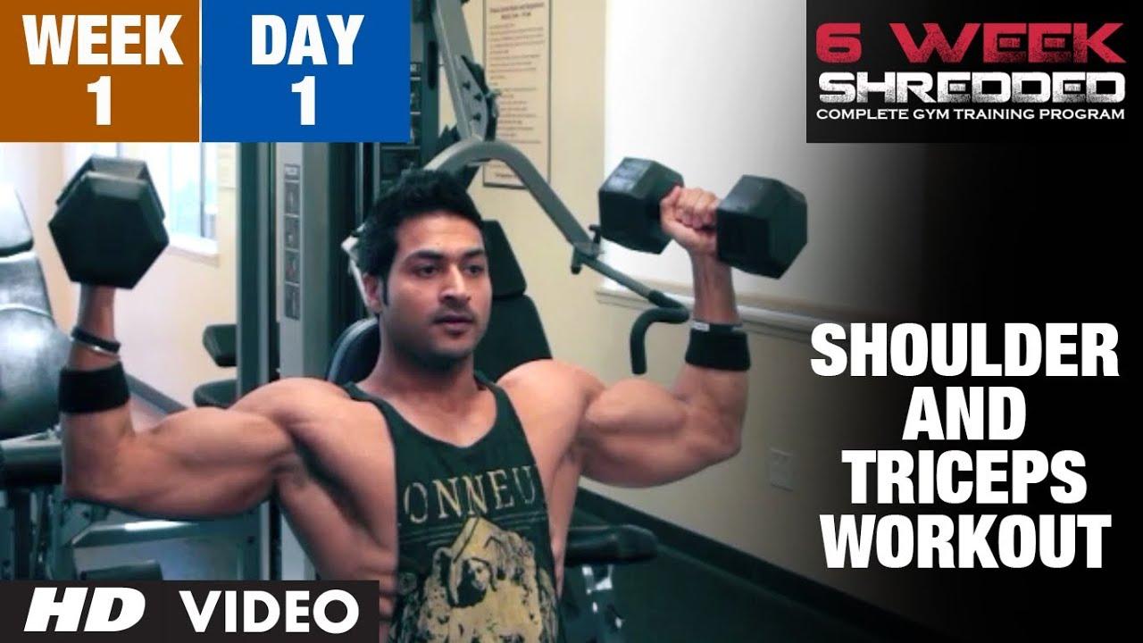 Week 1: Day 1 - Shoulder, Triceps and Upper Abs Workout | Guru Mann 6 Week Shredded Program