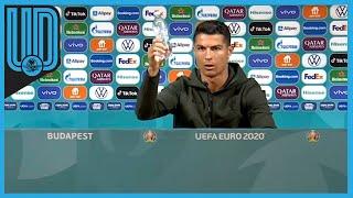 El capitán de Portugal no se abstuvo de retirar dos bebidas de un gran patrocinador de la Eurocopa, con tal de mostrar su desprecio hacia el producto.    #CR7 #CristianoRonaldo #Portugal