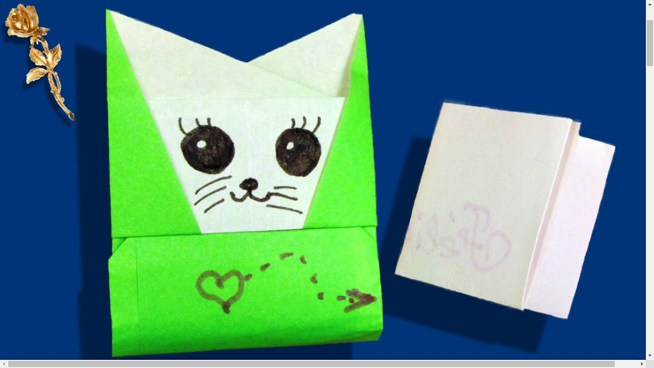 Origami facile enveloppe pochette chat youtube - Origami chat facile ...