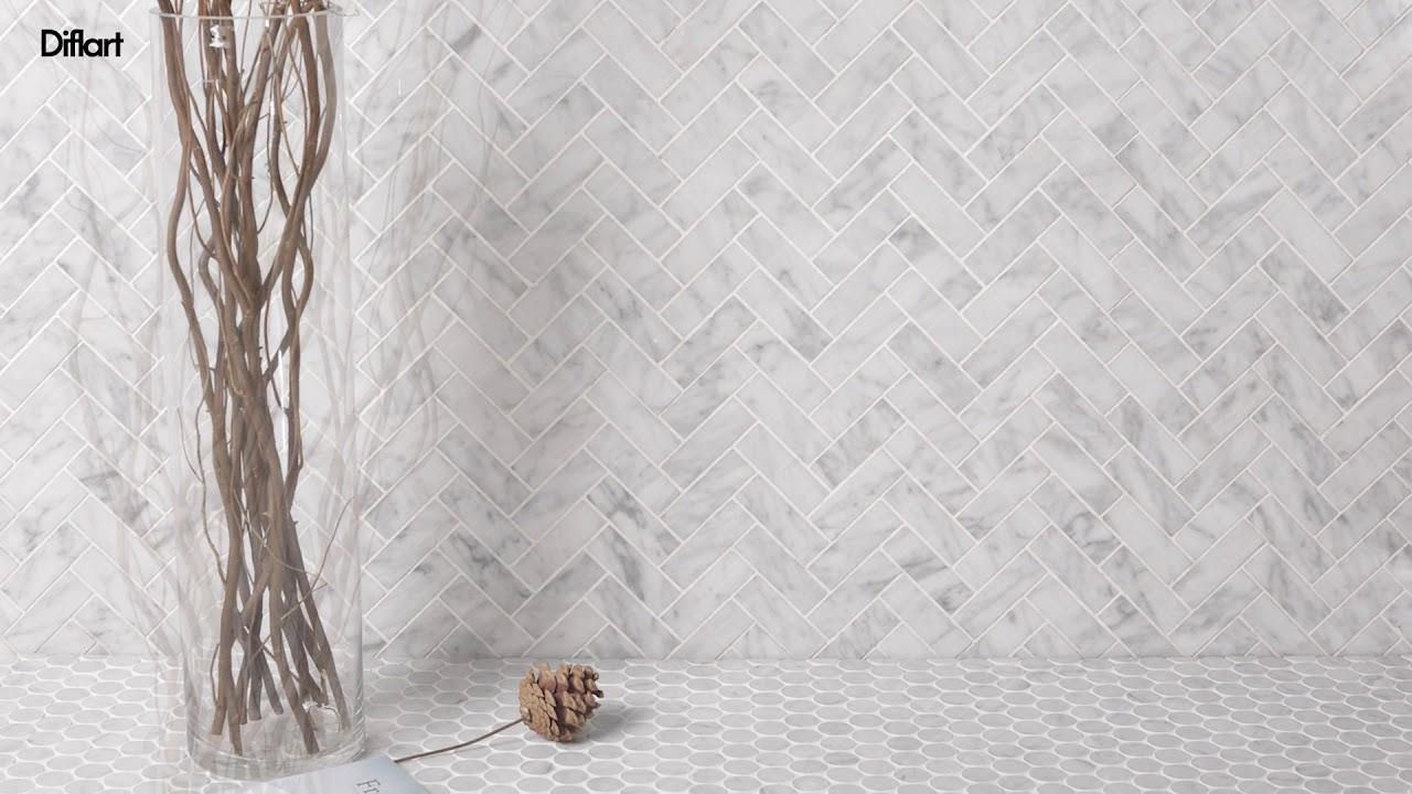 - Bianco Carrara Marble 1×3 Herringbone Tile Polished - YouTube
