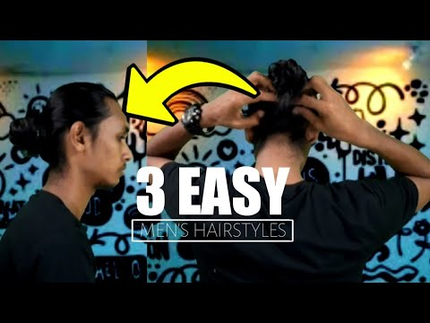 men's-hairstyles---3-gaya-mun-bun---man-bun-tutorial-|-gondrong-bertopi