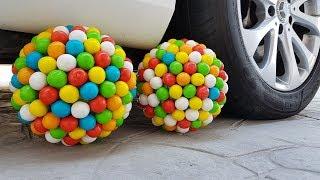 Crushing Crunchy & Soft Things by Car! - EXPERIMENT- SUPER SUGAR BALL VS CAR