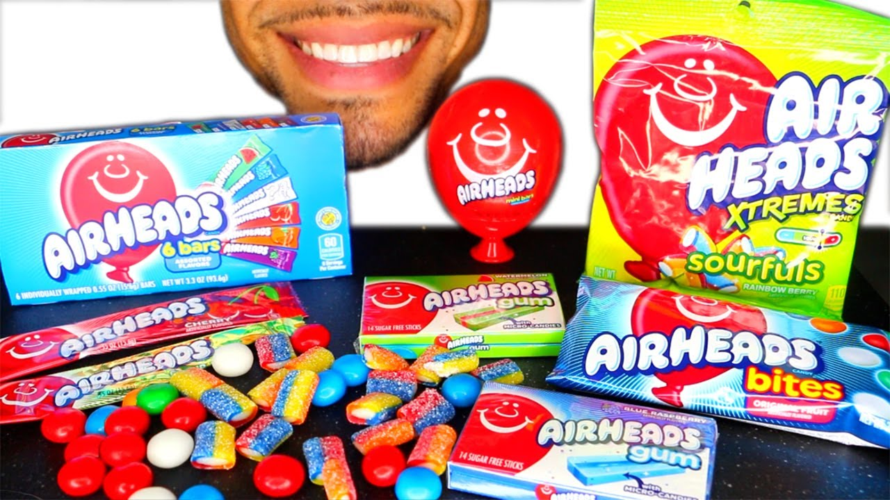 AIRHEADS XTREMES SOUR GUM BARS BITES CANDY EATING MOUTH CHEWY SOUNDS NO TALKING