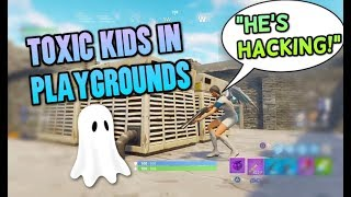 TOXIC KIDS CALL ME A HACKER! INVISIBLE GLITCH TROLLING - Fortnite Playgrounds Funny Moments