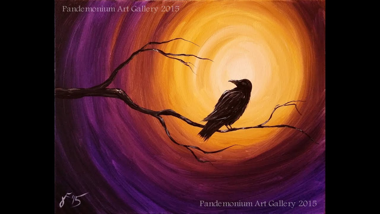 Midnight raven acrylic step by step painting on canvas for for Canvas painting tutorial for beginners