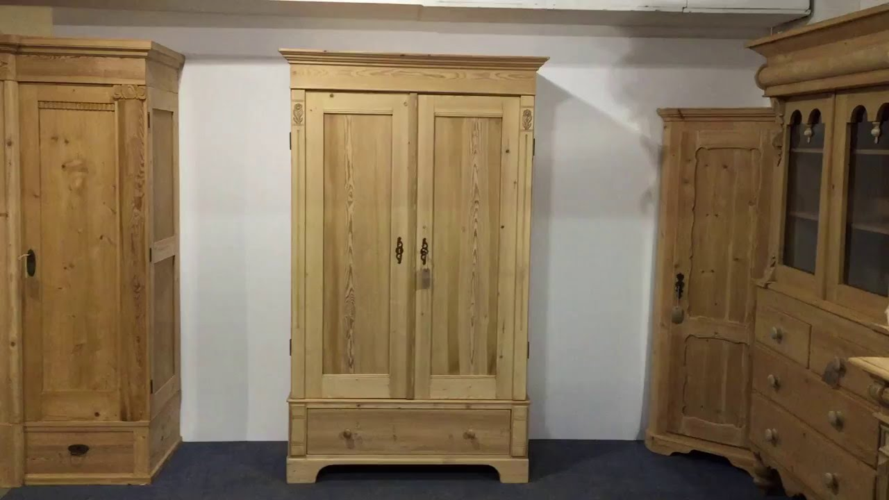 Small double antique pine wardrobe - Pinefinders Old Pine Furniture  Warehouse Video - Small Double Antique Pine Wardrobe - Pinefinders Old Pine