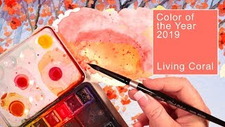 How to mix with watercolor Living Coral Pantone's Color of the Year 2019