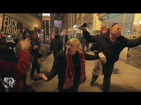 """Trump supporter Snaps on Protesters night before inauguration """"THIS IS MY AMERICA"""""""