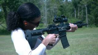 shooting a sb15 arm brace on a 300 blackout ar 15 pistol girls shooting guns