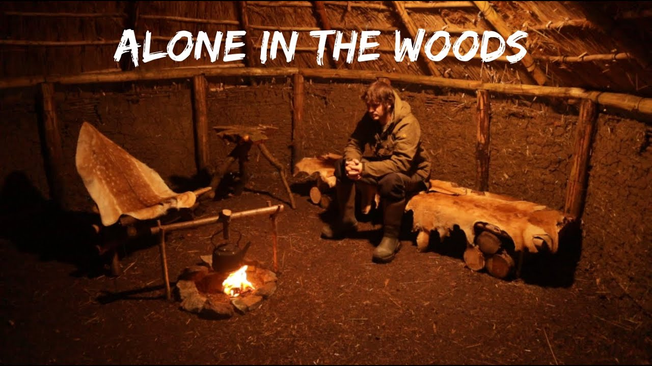 3 Days Alone In The Woods - Solo Woodland Camping with my Dog - Shelter Furniture & Cooking A Feast