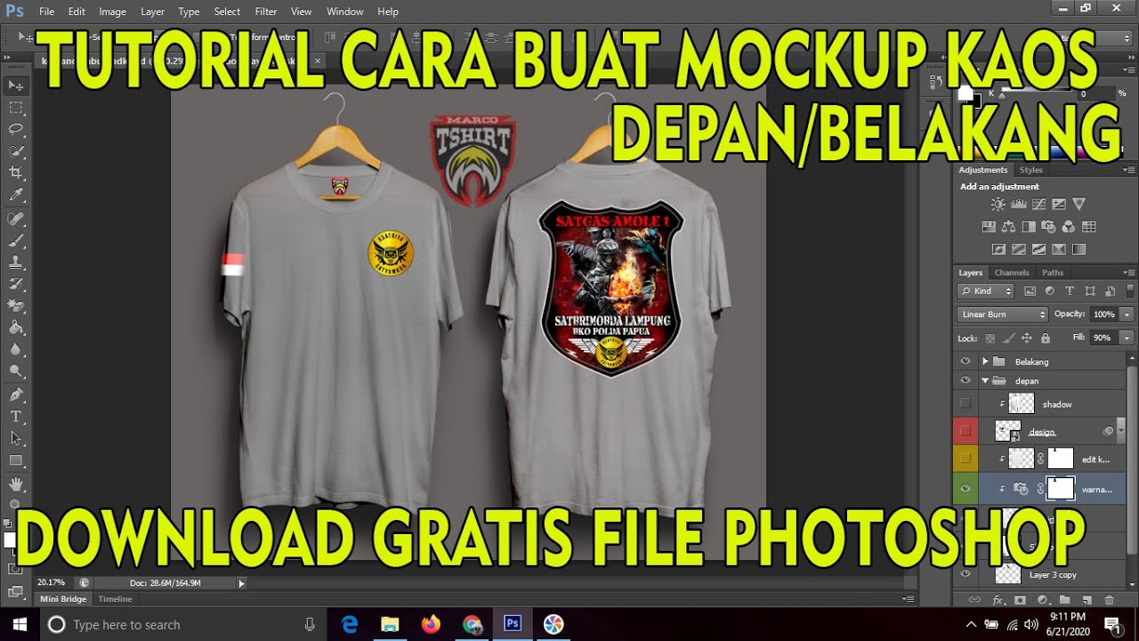 TUTORIAL CARA DESIGN MOCKUP kaos depan belakang-PHOTOSHOP