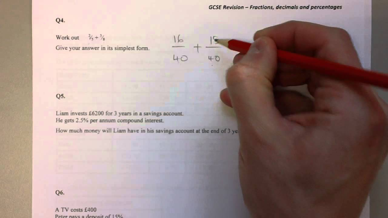 Gcse Revision Fractions Decimals And Percentages Youtube