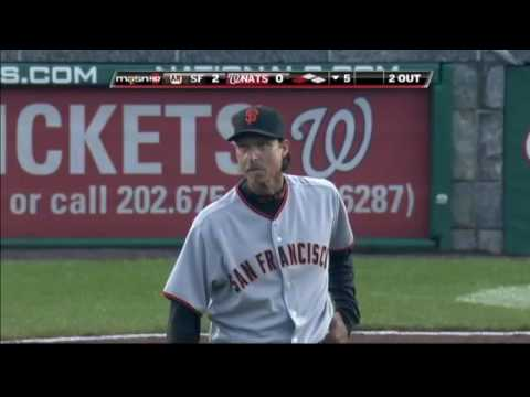 2009 Giants: Emmanuel Burriss starts the double play vs Nationals (6.04.09)