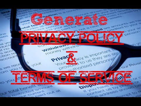 Generate Privacy Policy & Terms of Service For Your Website