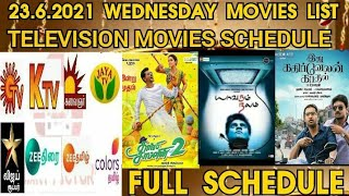 23.6.2021 Wednesday Television Movies List Full Schedule Sun tv K tv Zee tamil Smart Pictures