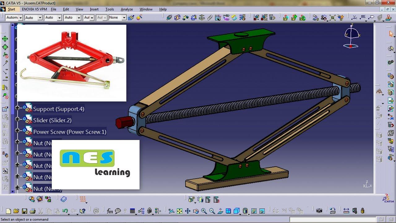 Design of car jack - Catia V5 V6 Tutorial Car Jack Scissor Jack Design Step By Step