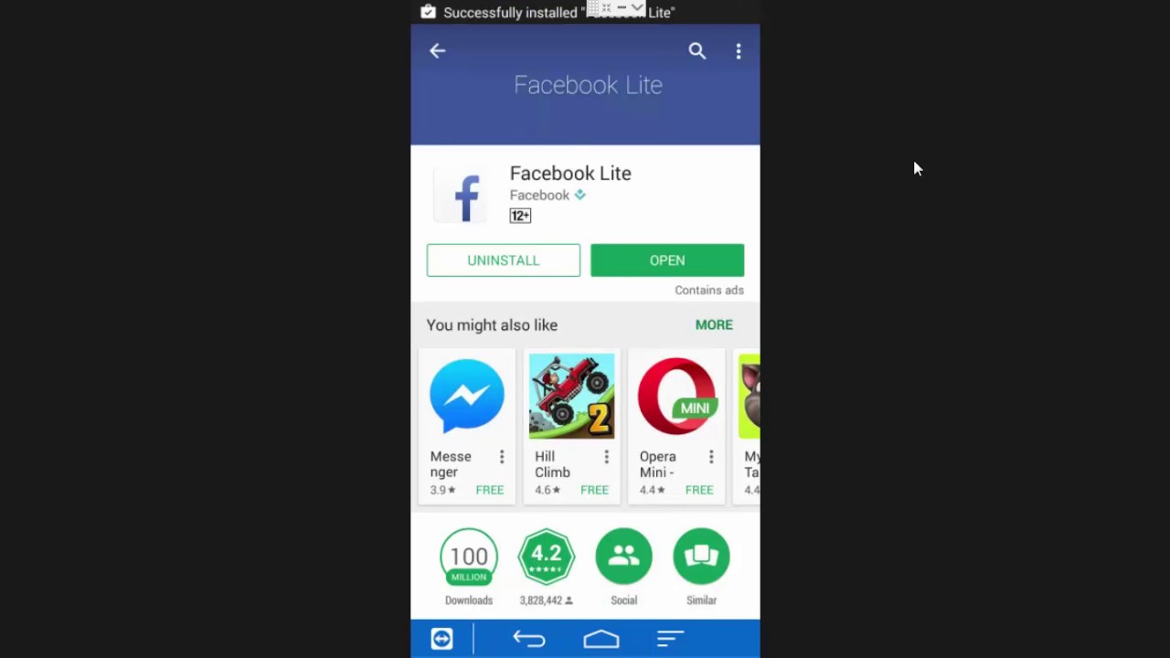 How To Download And Install Facebook Lite On Android Device Mobile Phone From Playstore Youtube