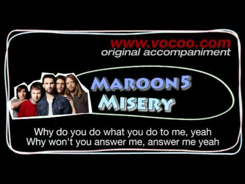 Maroon5 - Misery  (Karaoke/original accompaniment / Instrumental / lyrics)
