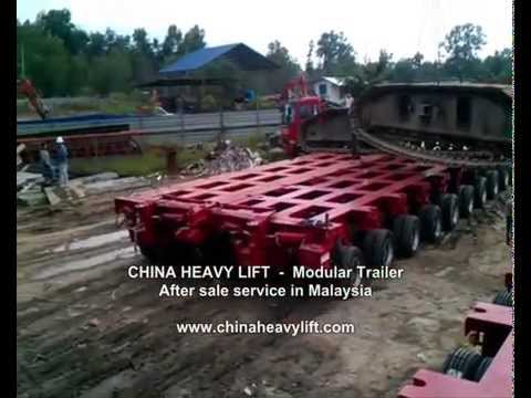 CHINA HEAVY LIFT 20 axle line Modular Trailer side by side combination in Malaysia