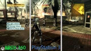 Metal Gear Rising Revengeance - Сравнение графики Xbox 360 - PS3 - PC от XboxLand(Cравнение графики игры MGS: Rising Revengeance на платформах Xbox 360, PS3 и PC Все оригиналы видео были сделаны со следующим..., 2014-01-15T06:41:48.000Z)