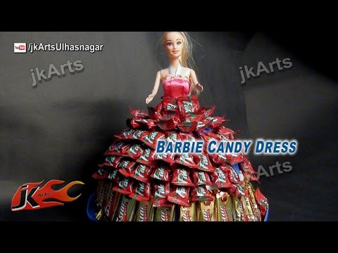 DIY Candy Created BARBIE Dress  How To Make A Candy Dress   JK Arts 589