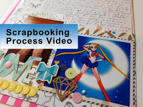 "Scrapbook Layout #35 : ""Sailor Moon Moments"" ~ Crate Paper, DIY Scrapbook Kit, 8.5x11 layout Video"