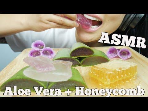 ASMR Aloe Vera + Honeycomb (CRUNCHY SOFT STICKY SLIMY EXTREME EATING SOUNDS)   SAS-ASMR Part 2.