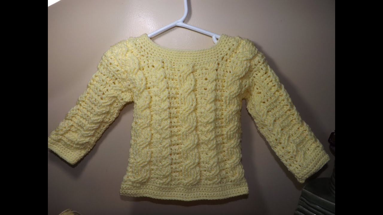 Crochet Cable Baby Sweater Part 1 Of 2 With Ruby Stedman