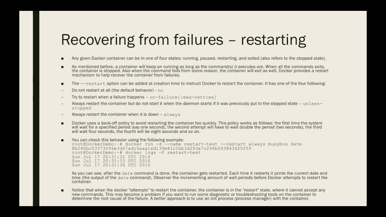 Docker for Beginners - Recovering from Failures Restarting