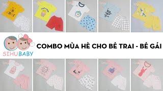 [SiHu Baby Shop] Set Quần Áo Sơ Sinh Mùa Hè Cho Bé Trai Bé Gái