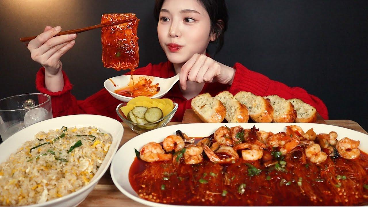 SUB)팽글오독 불닭팽이버섯에 마라감바스 먹방🔥달걀볶음밥 마늘빵까지 리얼사운드 Spicy Enoki Mushroom Mala Gambas Mukbang ASMR
