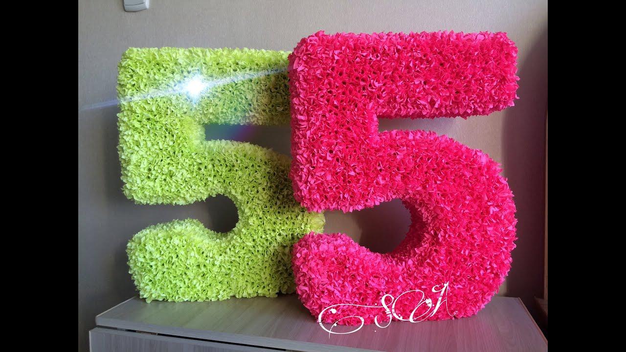 Как сделать цифру 1 на день рождения ребенку салфетками 44