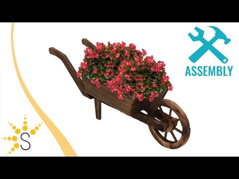 Sunnydaze Wooden Decorative Wheelbarrow Planter - DSL-674