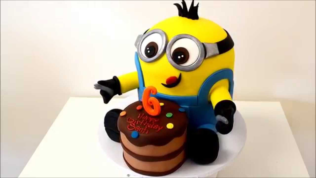 New Minion Birthday Cake With Small Cake In Front Youtube